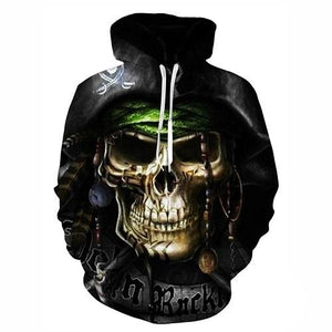 Skull Printed Pullovers Hoodies The Mighty Skull ™ Gold 4XL