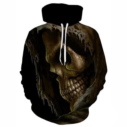 Skull Printed Pullovers Hoodies The Mighty Skull ™ Gray 4XL