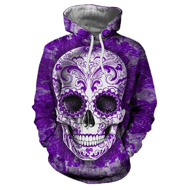 Skull Printed Pullovers Hoodies The Mighty Skull ™