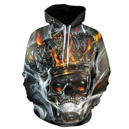 Skull Printed Pullovers Hoodies The Mighty Skull ™ Burgundy 4XL