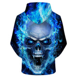 Blue Crazy Skull 3D Hoodie The Mighty Skull ™