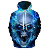 Blue Crazy Skull 3D Hoodie The Mighty Skull ™ XL