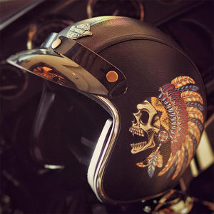 Retro Chief Skull Leather Helmets The Mighty Skull ™