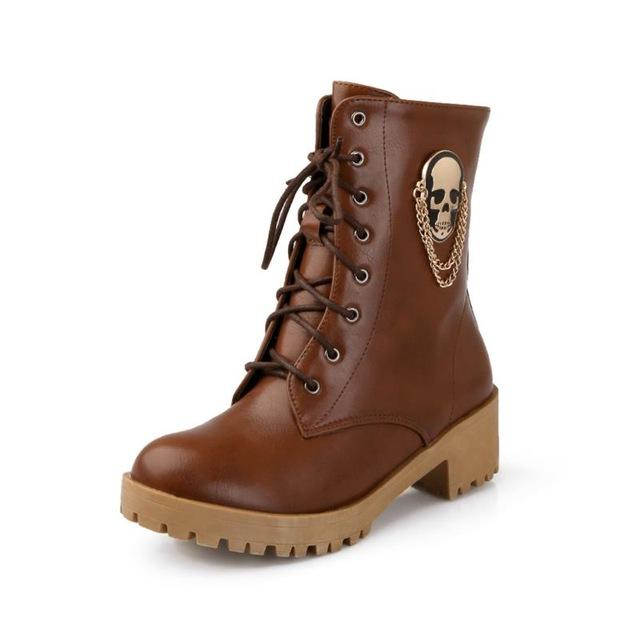 Women Fashion Ankle Boots The Mighty Skull ™ Brown 5