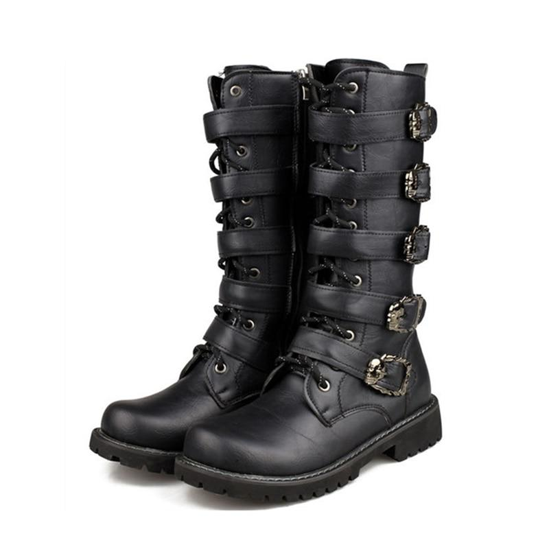 TMS Black Mid Calf Boots The Mighty Skull ™