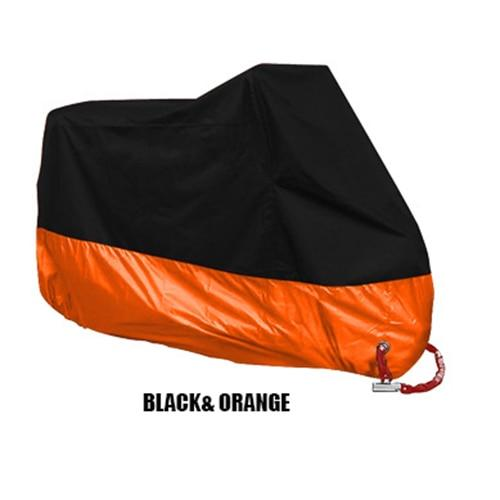 TMS All Weather Motorcycle Cover The Mighty Skull ™ XL Black & Orange