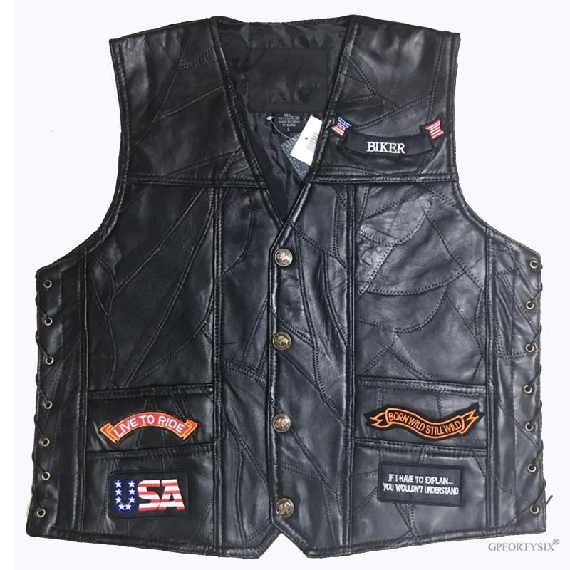 Biker's Embroidered Motorcycle Vest The Mighty Skull ™