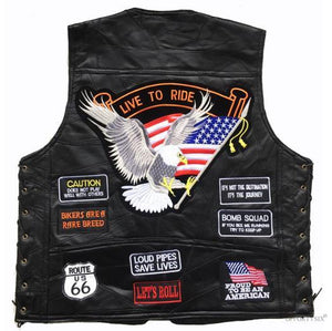 Biker's Embroidered Motorcycle Vest The Mighty Skull ™ HA-01 M