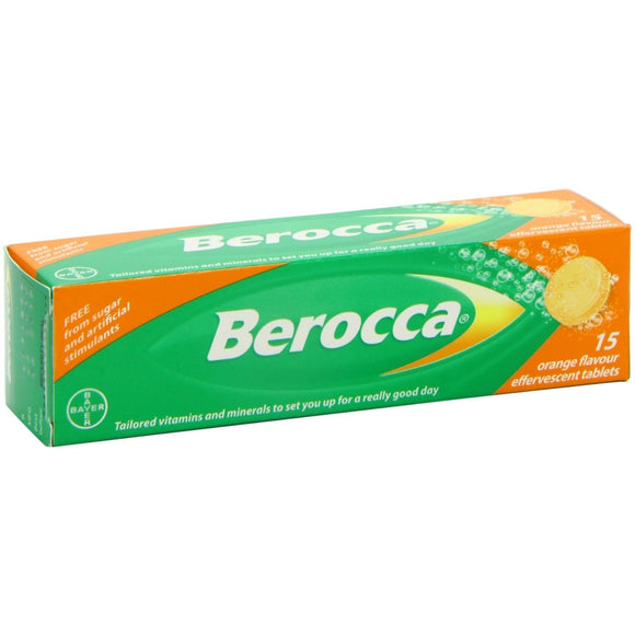 Berocca 15 Orange Flavored Effervescent Tablets IMPORT