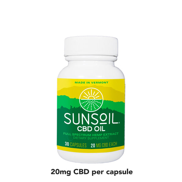Sunsoil Full Spectrum CBD Oil 20mg - 30ct Capsules
