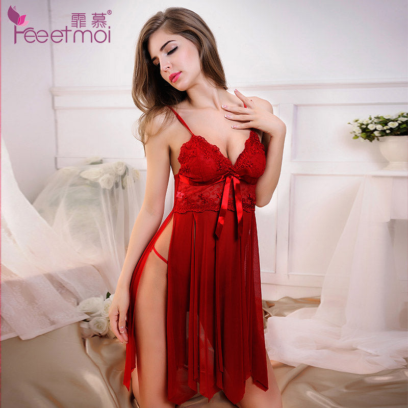 d32e936cc76 Lace Embroidery Red Baby Doll Sexy Lingerie Women Hot Sexy Solid V-Neck  Transparent Erotic Lingerie Sexy Slit Sleepwear Pajamas