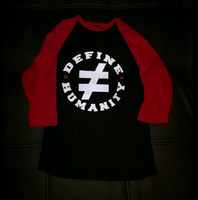 I Define Humanity Raglan Tee - Black/Red/White