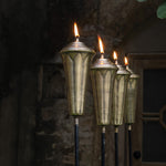 Antique Lotus Oil Lamp Stake (Set of 2 Pieces)