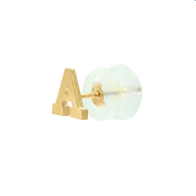 14K Gold Single Initial Stud