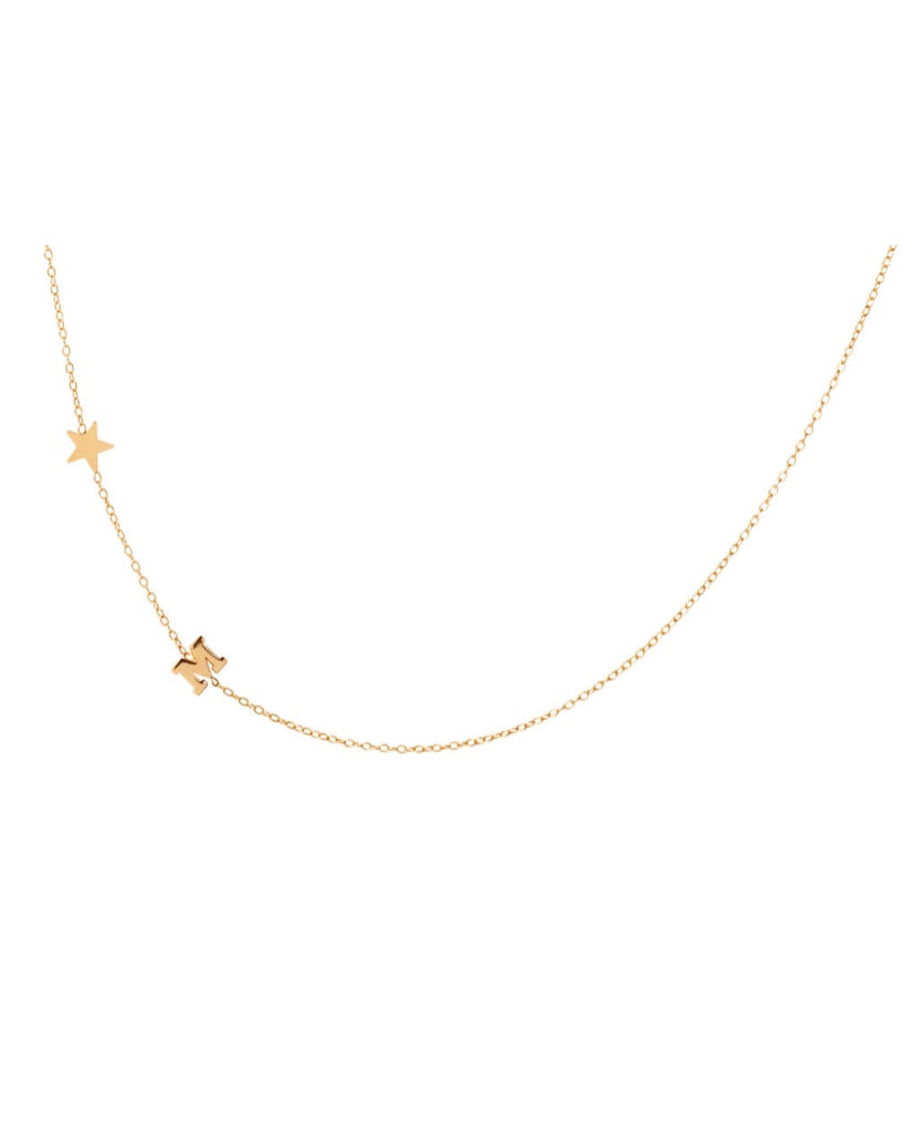 14K Gold Star and Initial Necklace