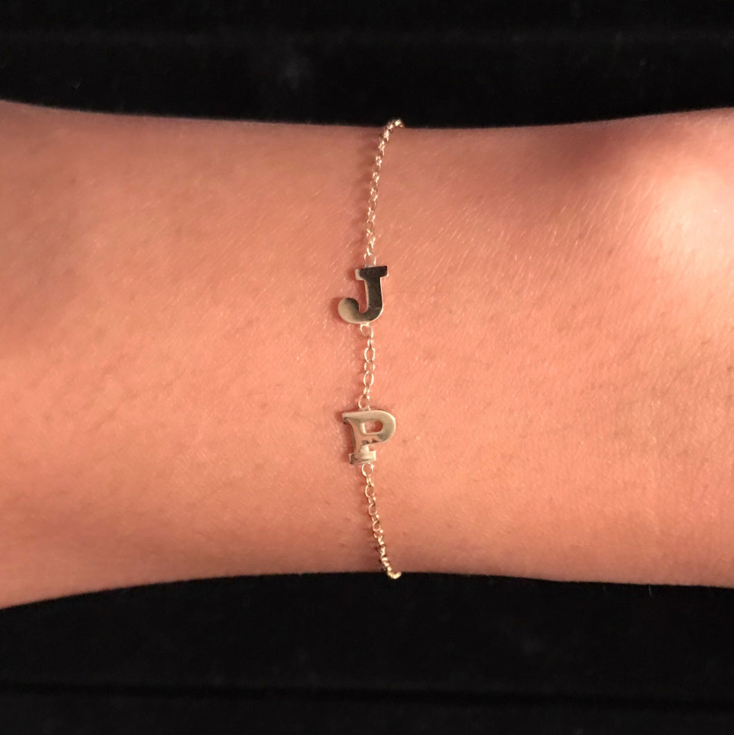 14K Gold Two Initials Bracelet