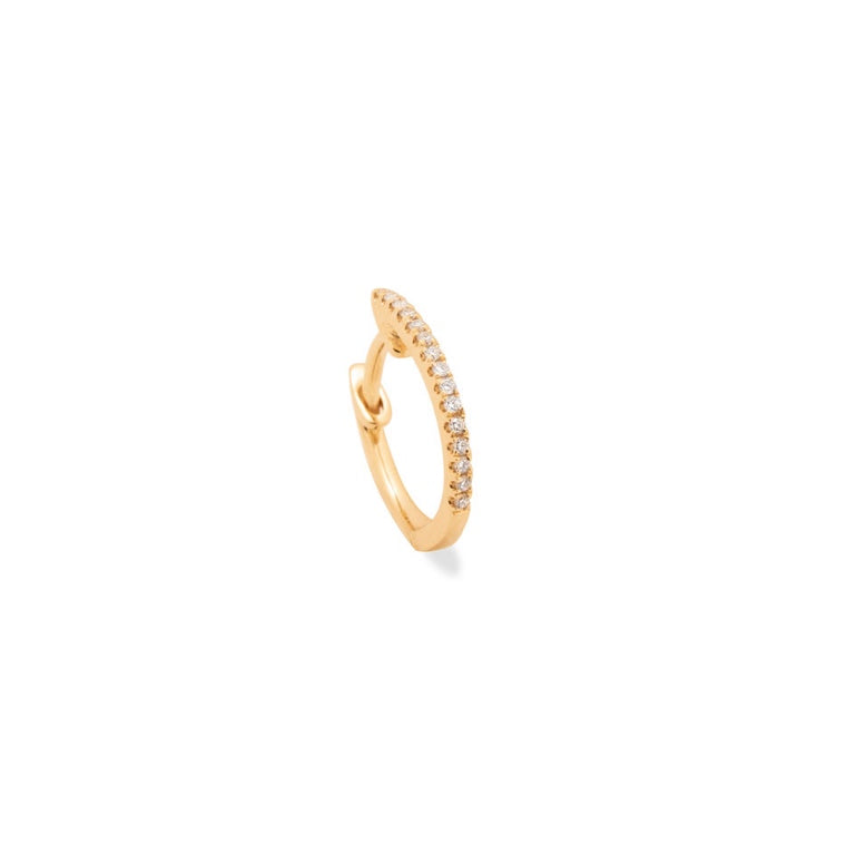 14K Gold Medium Diamond Huggie Earring