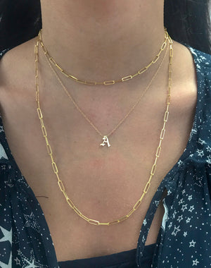 14K Gold Large Paper Clip Chain Necklace