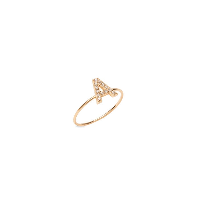 14K Gold Diamond Initial Ring