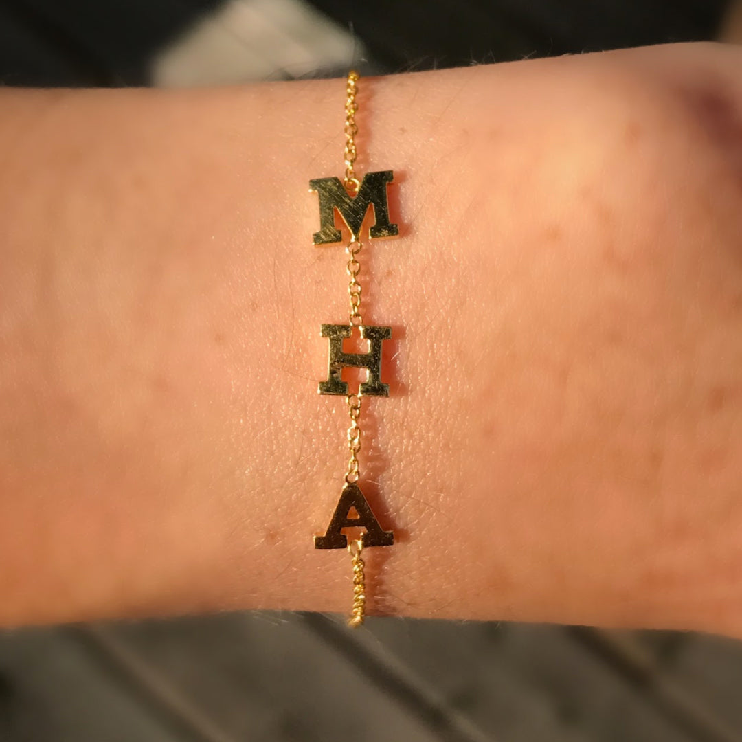 14K Gold Three Initials Bracelet