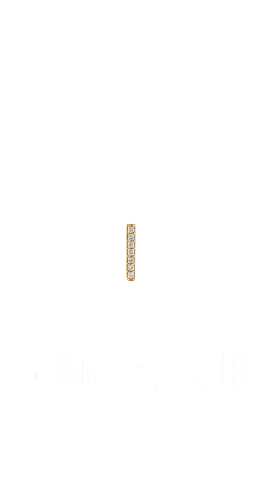 14K Gold Diamond Bar Earring