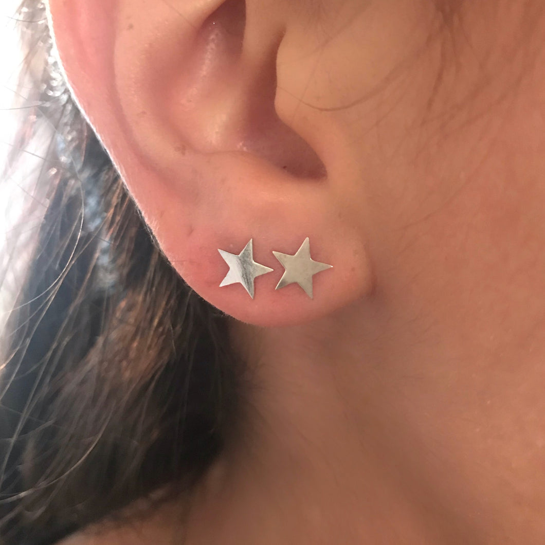 Star Stud Earrings, 14K Gold