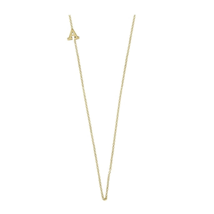 14K Gold Asymmetrical Single Initial Necklace