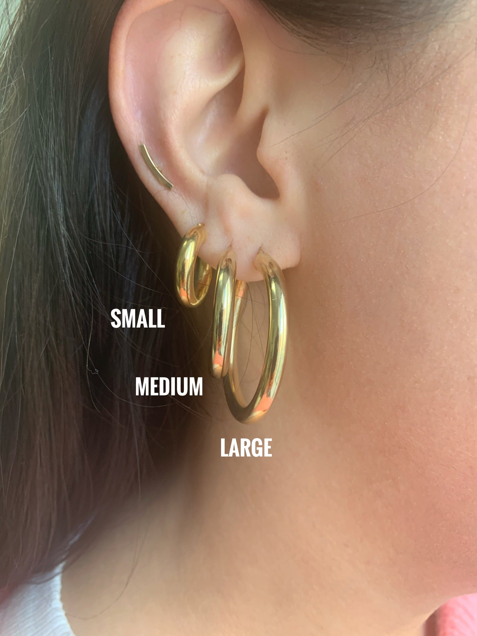 10K Gold Thick Small Hoops