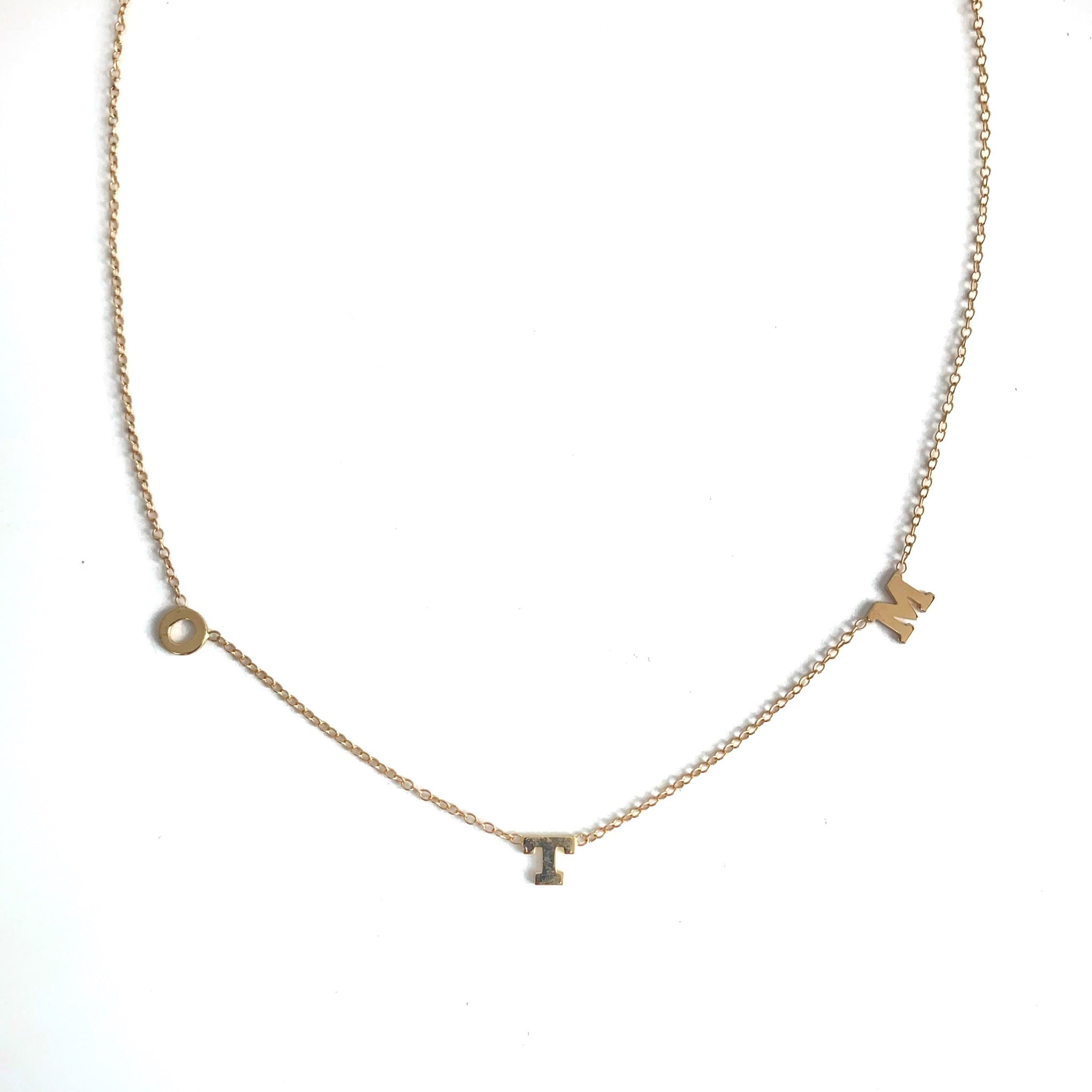 Three Gold Initial Necklace