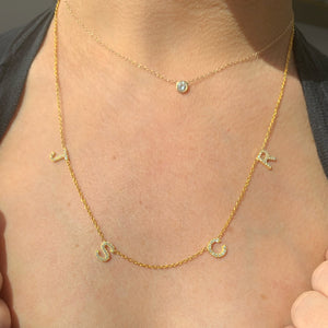 14K Gold Four Diamond Initial Necklace