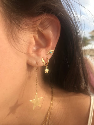 14K Gold Star Huggie Earrings