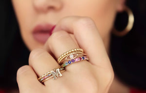 14K Gold Initial Stack Ring
