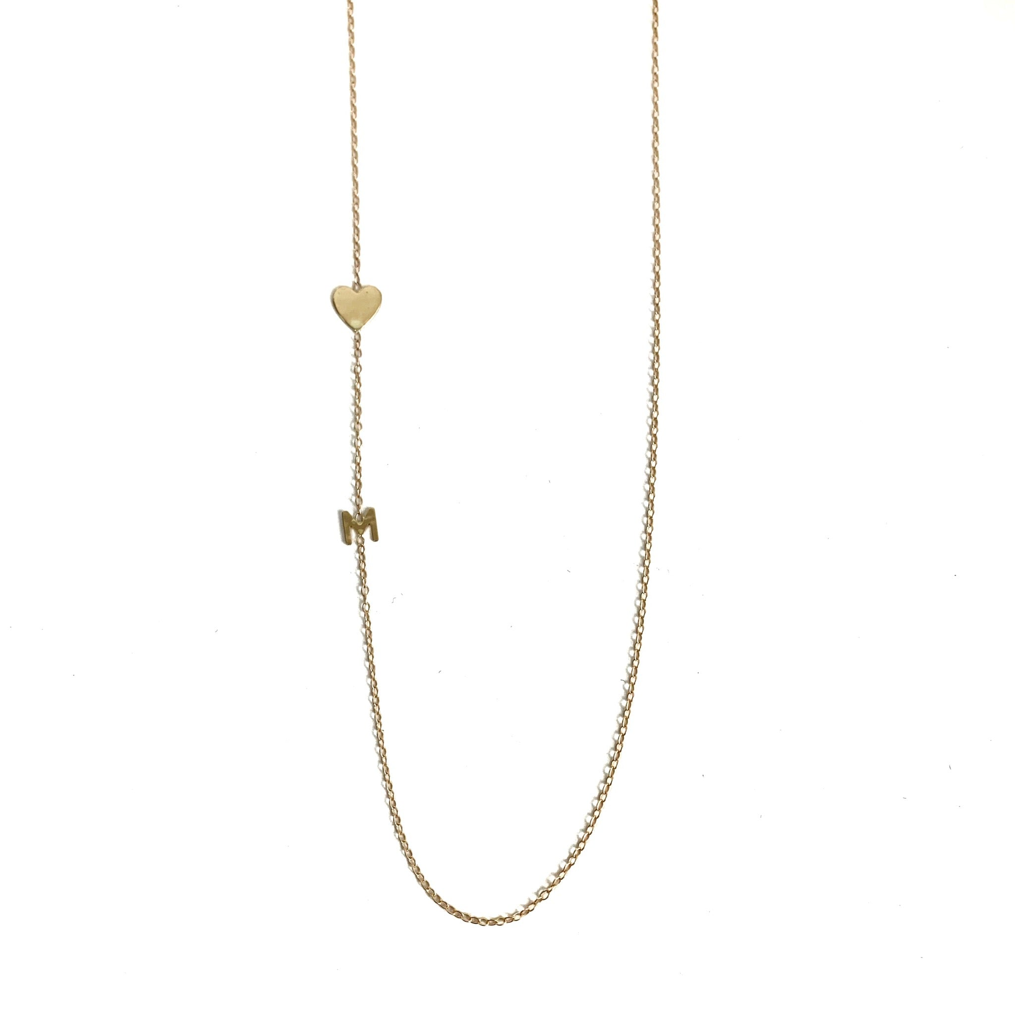 14K Gold Heart and Mini Initial Necklace