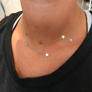 14K Gold 3 Star Necklace