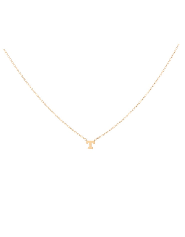 14K Gold Single Initial Necklace
