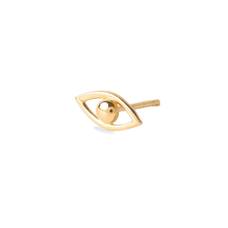 14K Gold Evil Eye Stud