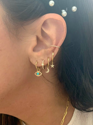 FINAL SALE 14K Yellow Gold Turquoise Huggie Earring