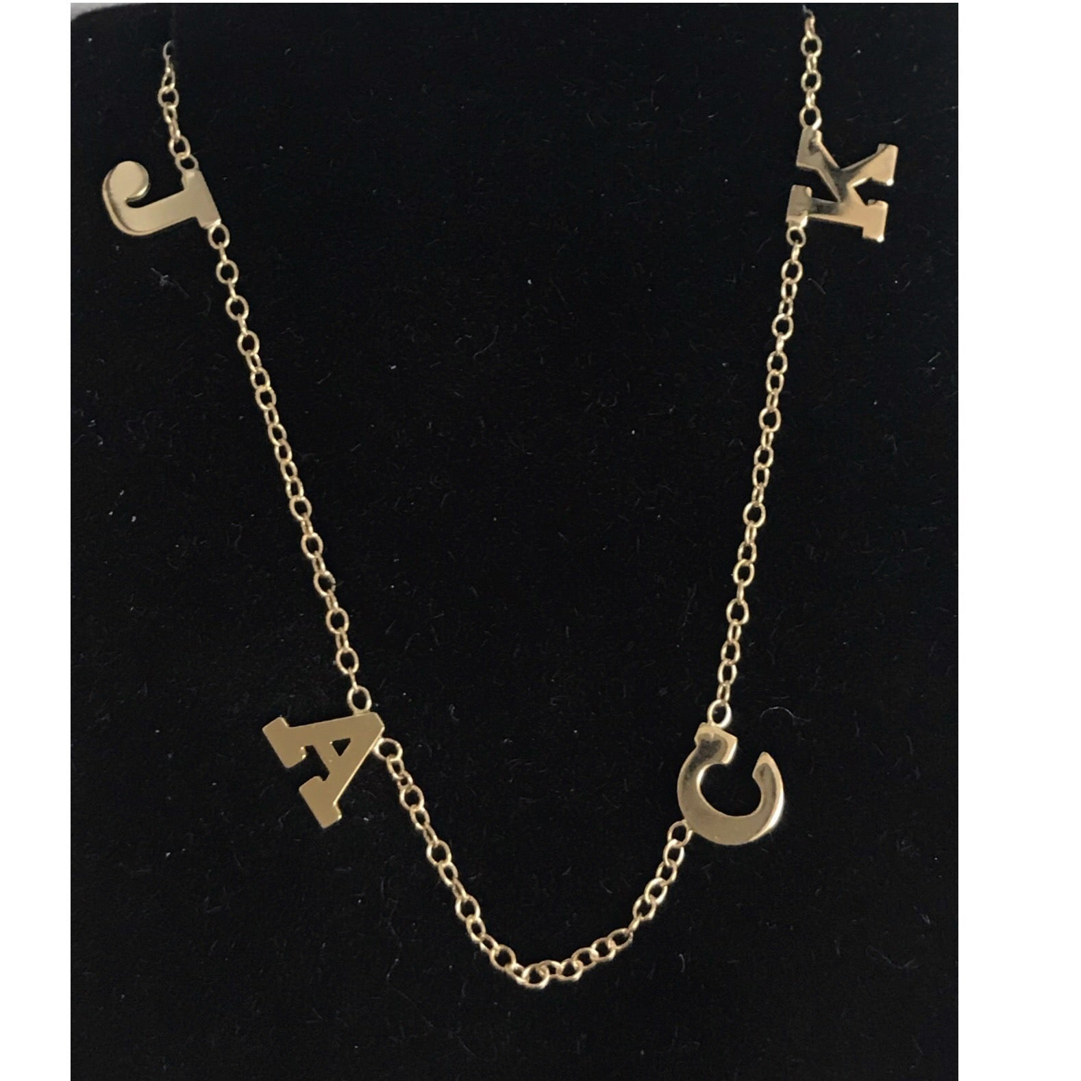 14K Gold Four Initial Necklace