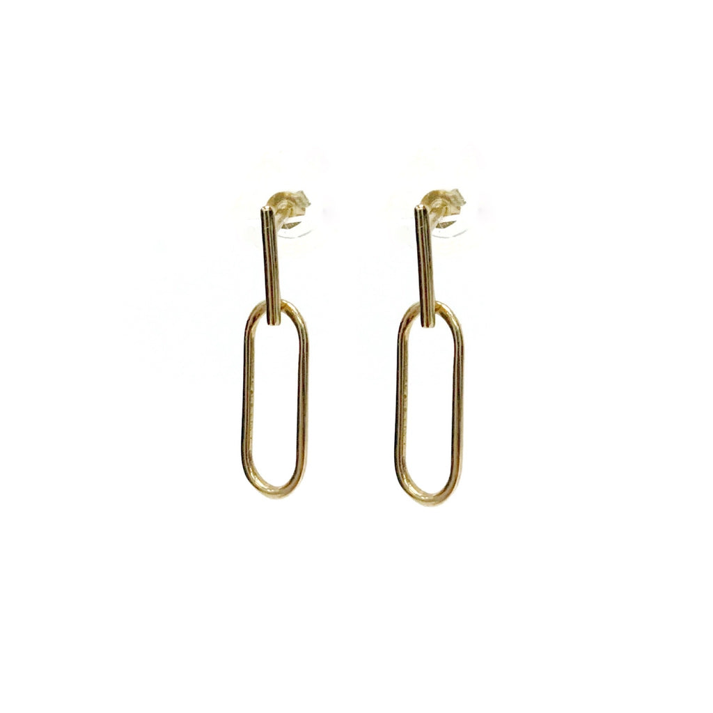14K Gold Paper Clip Earrings