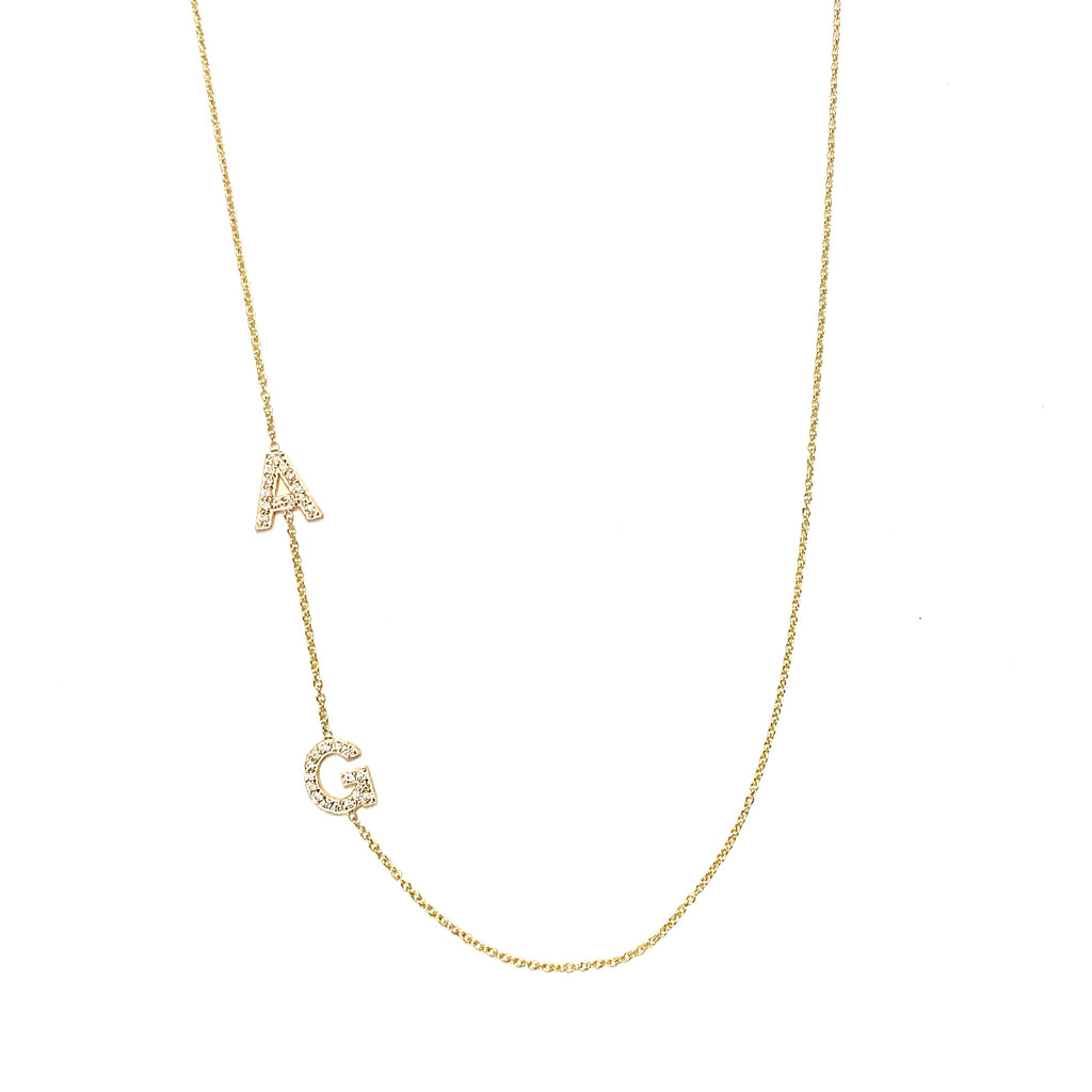 Two Diamond Initial Necklace