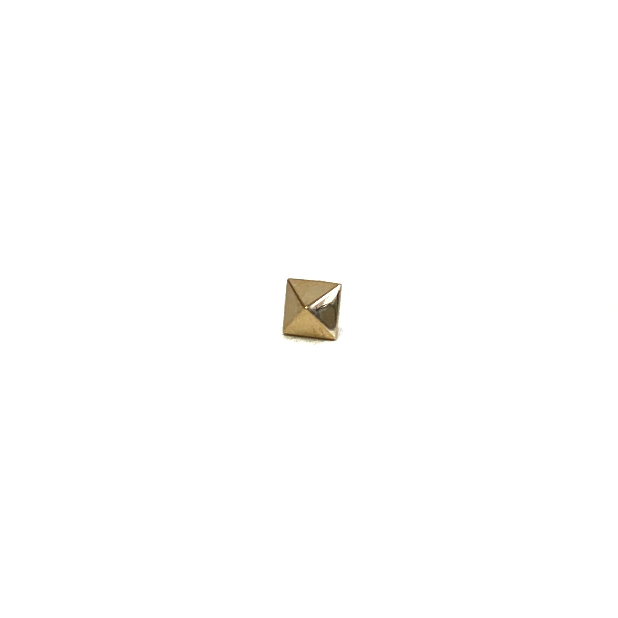 14K Gold Pyramid Stud
