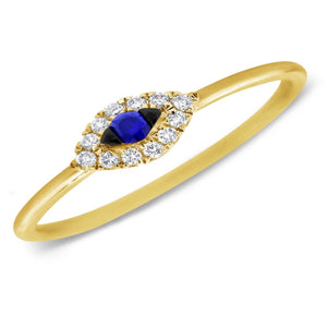 14K Diamond and Sapphire Evil Eye Ring
