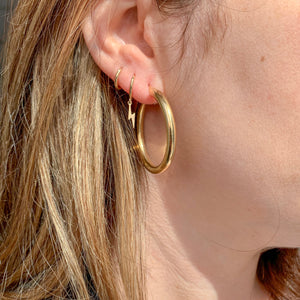 10K Gold Large Thick Gold Hoops