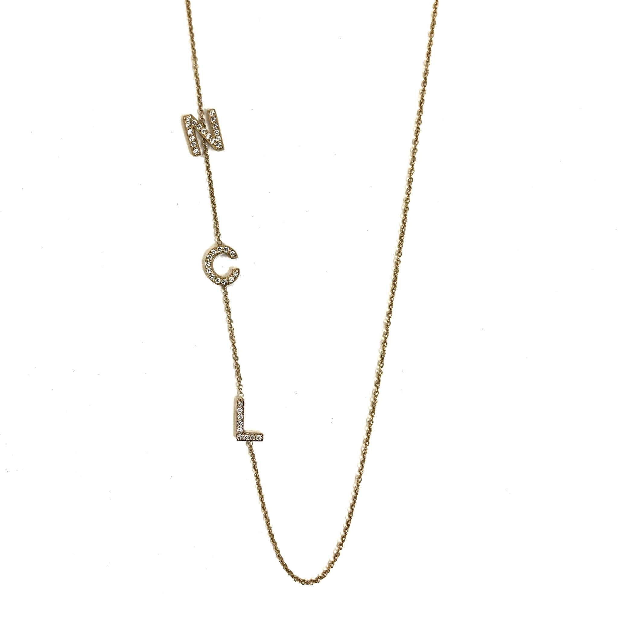 14K Diamond Three Initial Necklace