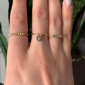 14K Gold Engraved Bar Ring
