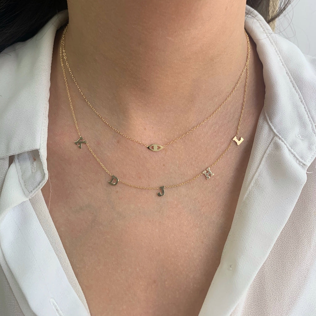 Five Drop Initial Necklace