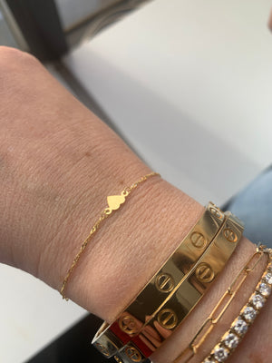 14K Yellow Gold Heart Bracelet