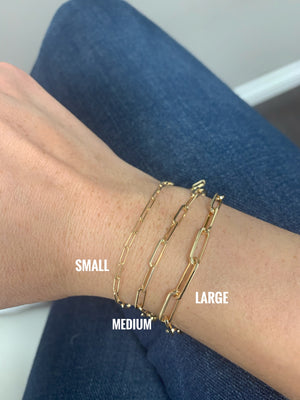 14K Yellow Gold Mini Paper Clip Chain Bracelet