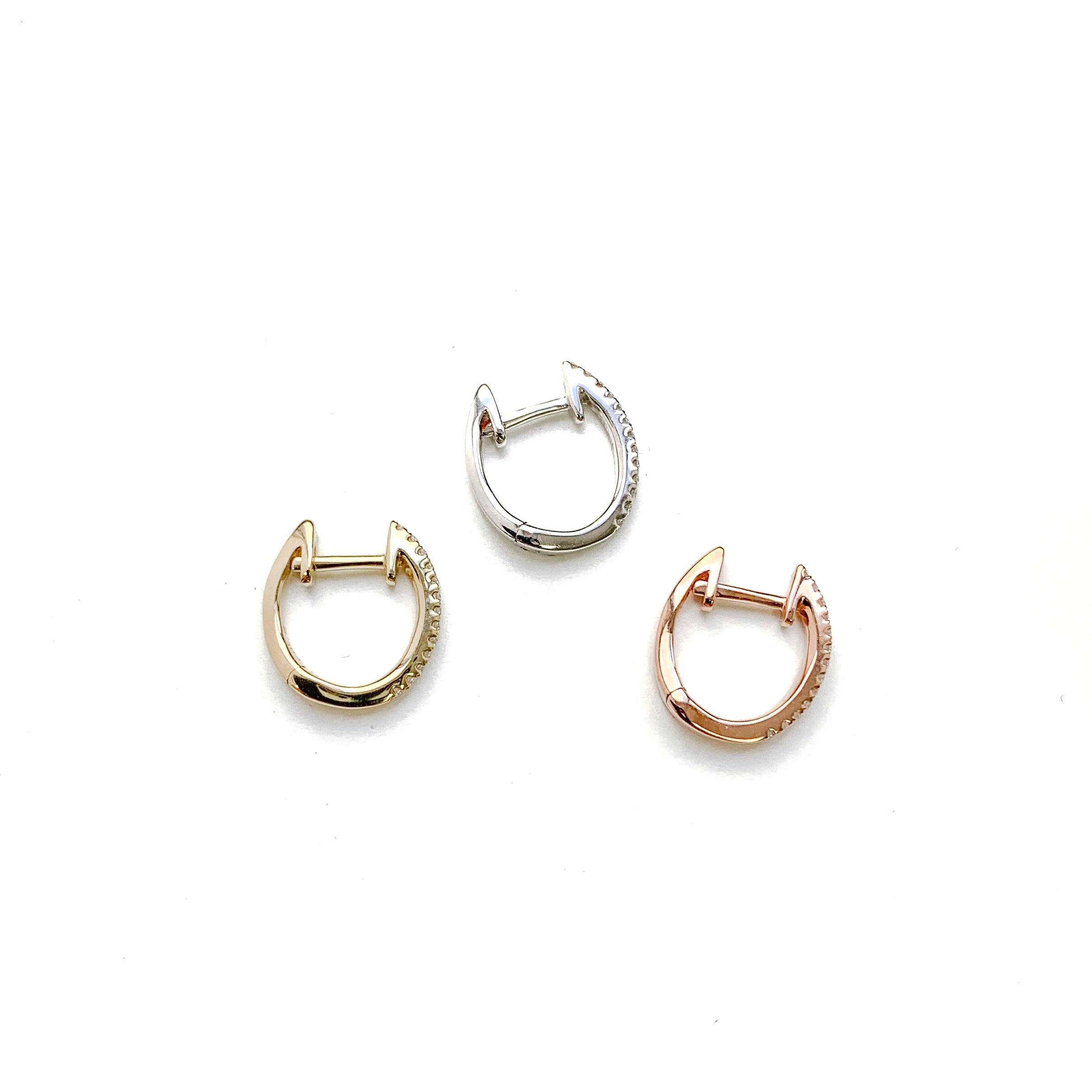 14K Gold Mini Diamond Huggie Earring
