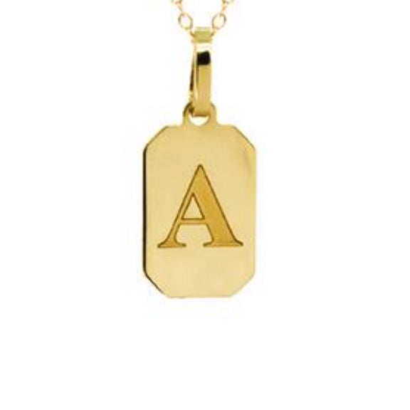 10K Gold Dog Tag Charm